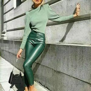 NWT Zara Faux Leather High Rise Leggings in Green 8372/234/500